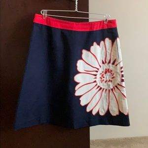 Boden Size 10 Long Red, White, & Blue A-Line Skirt